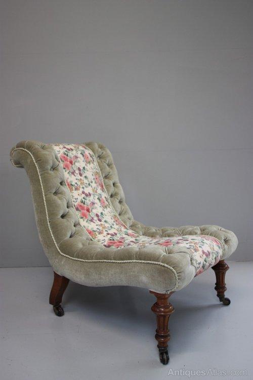 Quality 19th Century Antique Slipper Chair. - Quality 19th Century Antique Slipper Chair. - Antiques Atlas