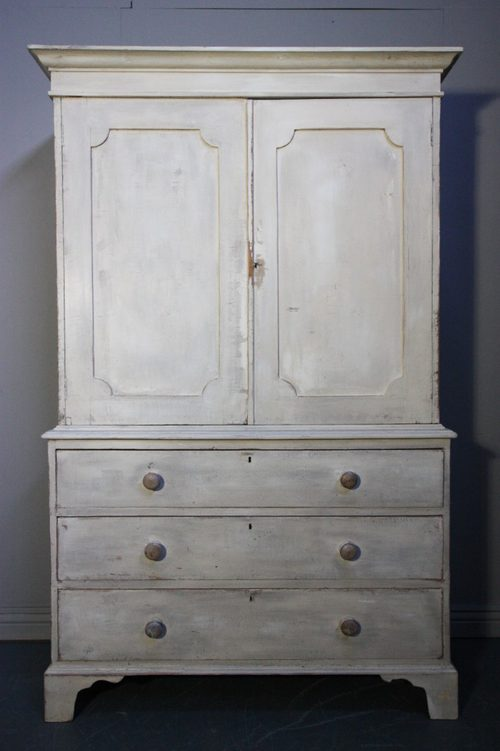 Regency antique painted pine cupboard linen press for Linen press