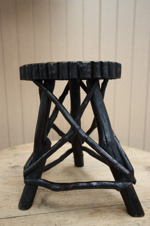 Rustic English Antique Twig Side Table/Stool.