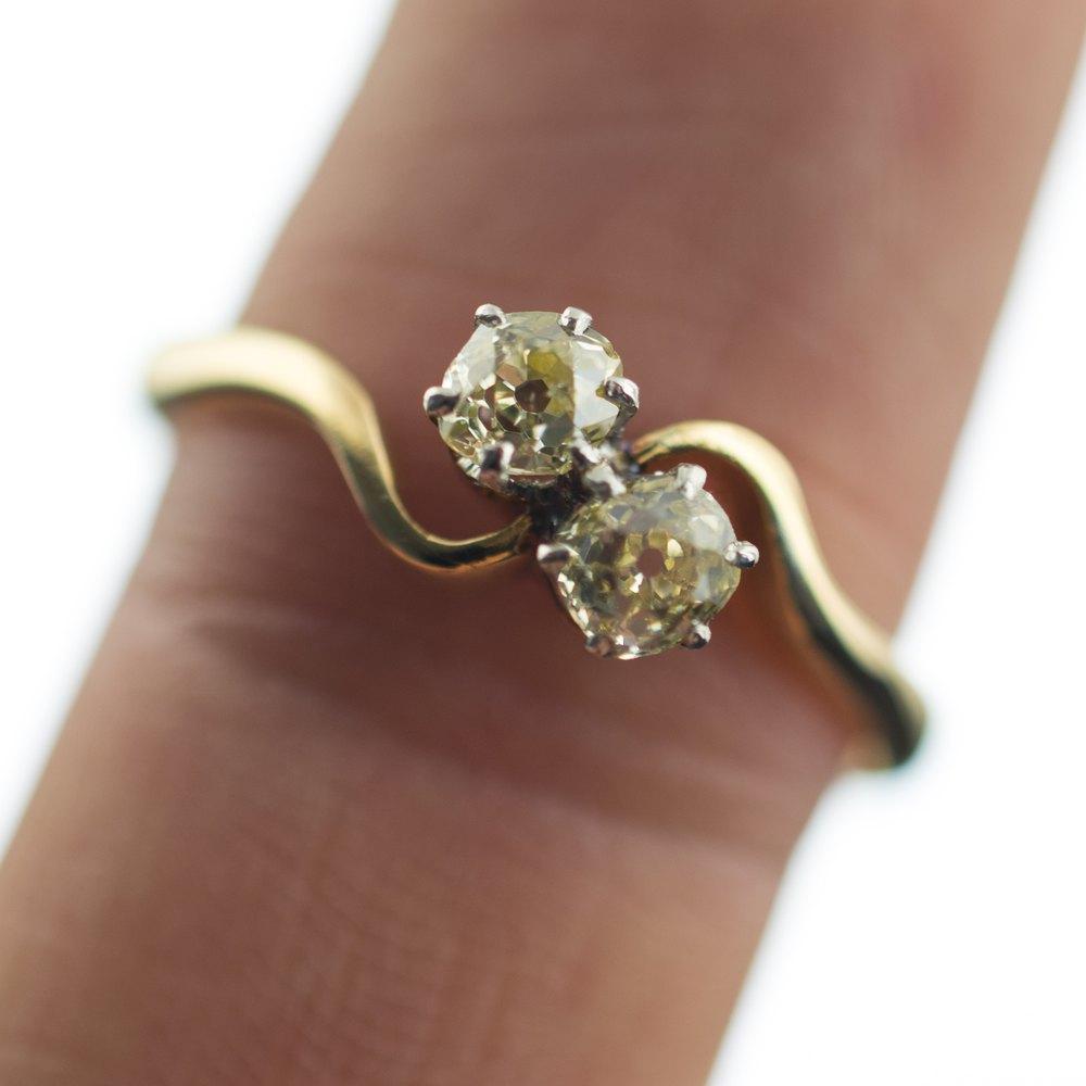 Antiques Atlas 18ct Gold Two Stone Diamond Twist Ring