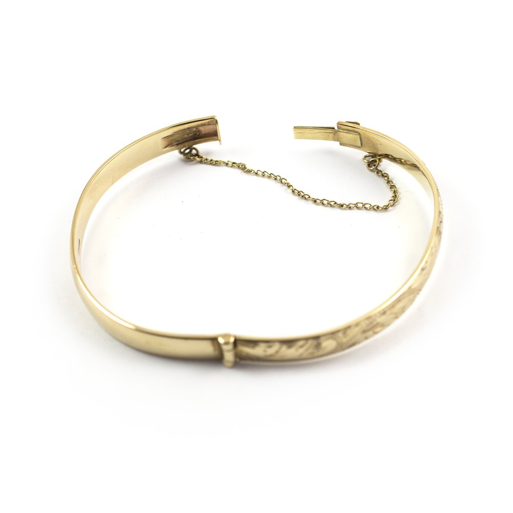 antiques atlas 9ct gold engraved bangle bracelet