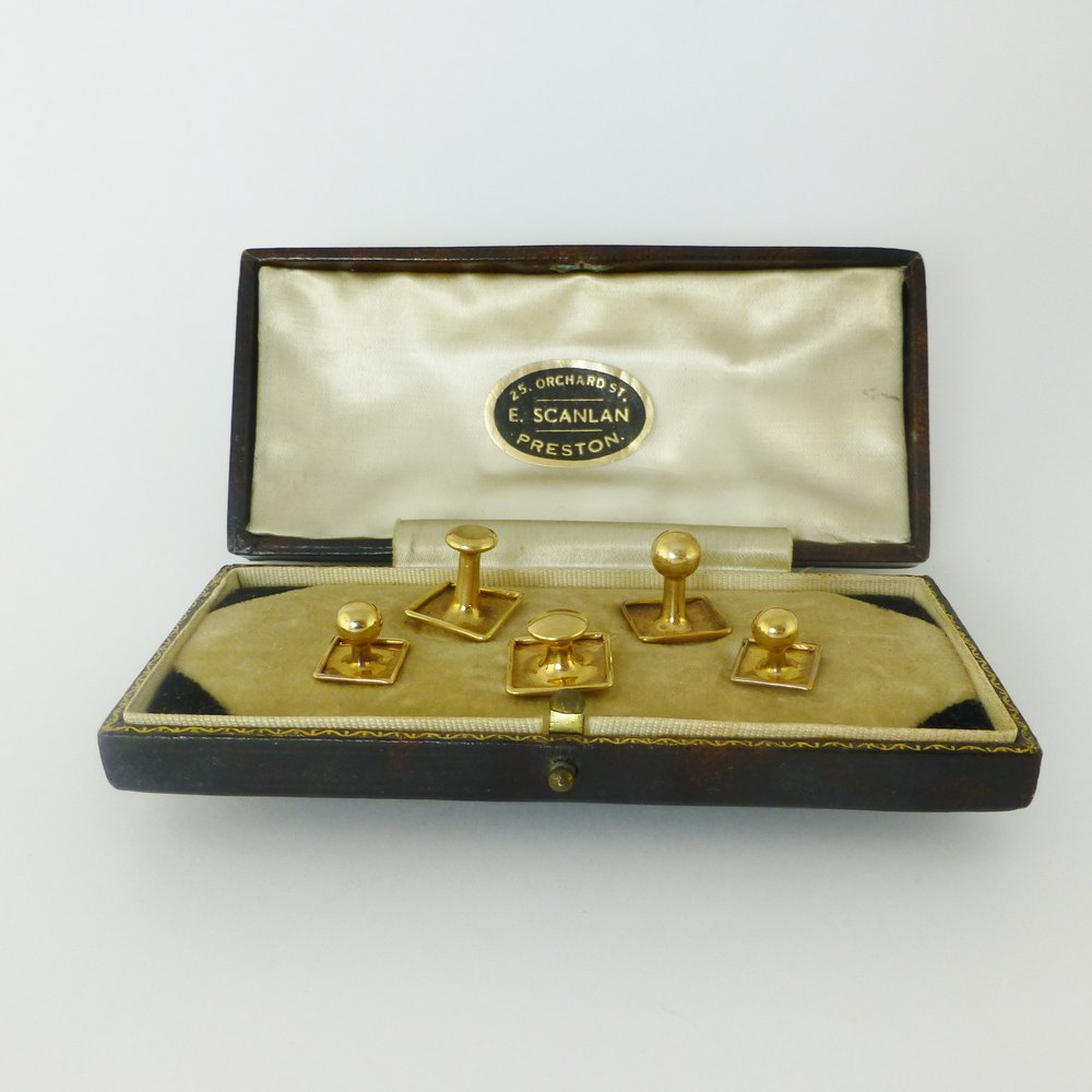 Antiques Atlas 9 Carat Rose Gold Dress Shirt Stud Set