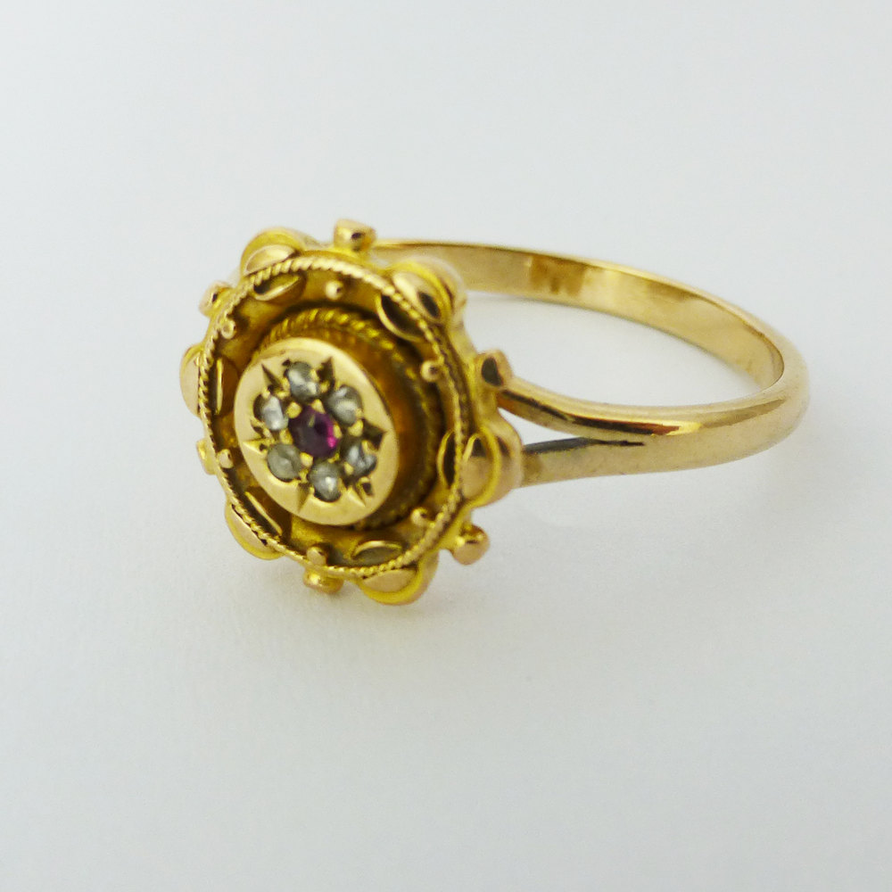 antiques atlas antique ruby and diamond ring 9ct gold