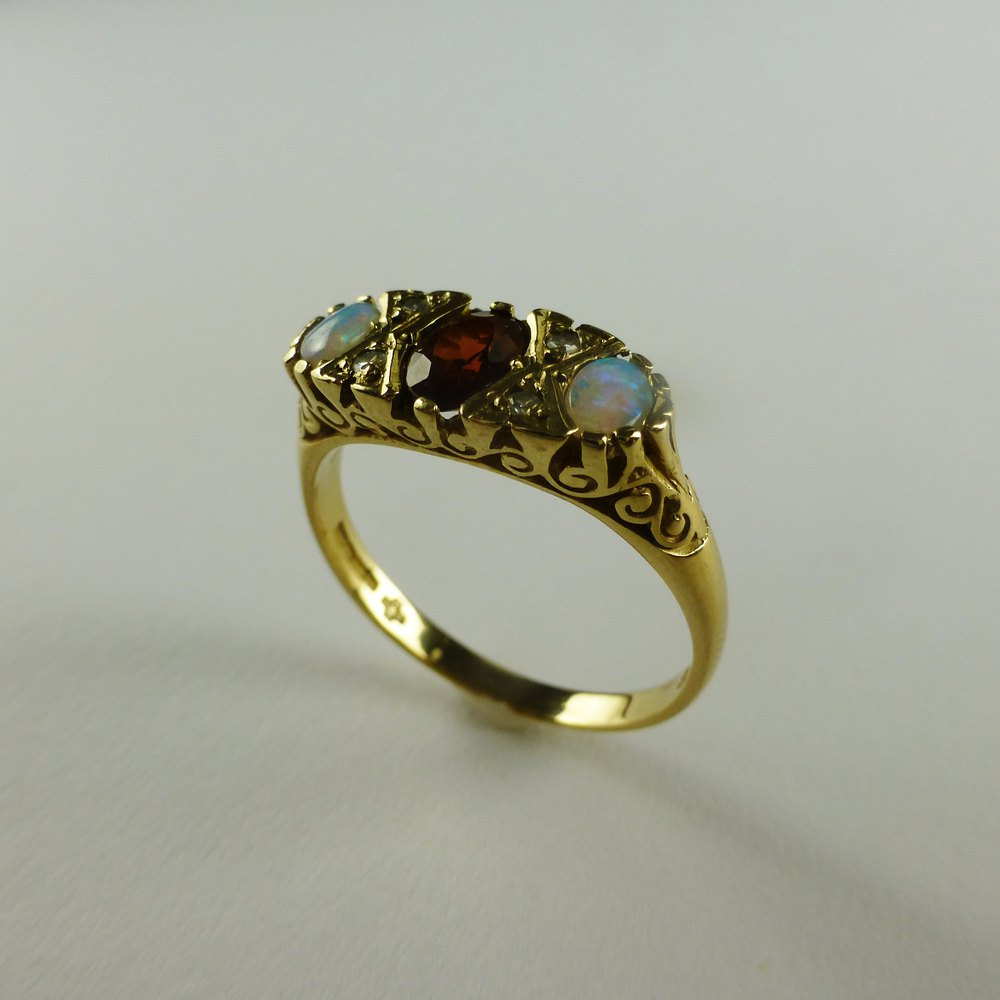 antiques atlas antique style garnet opal and diamond ring