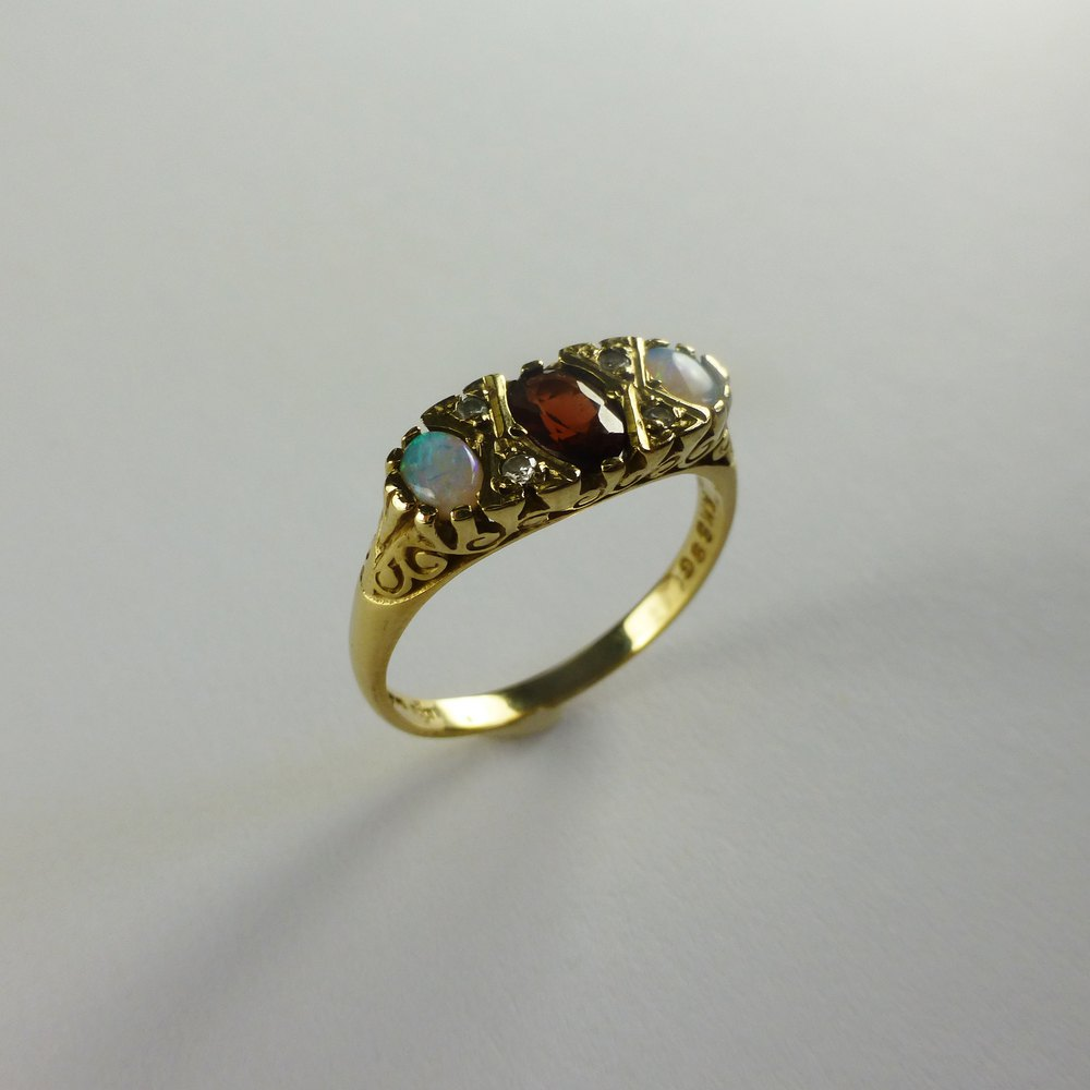 antiques atlas antique style garnet opal and ring