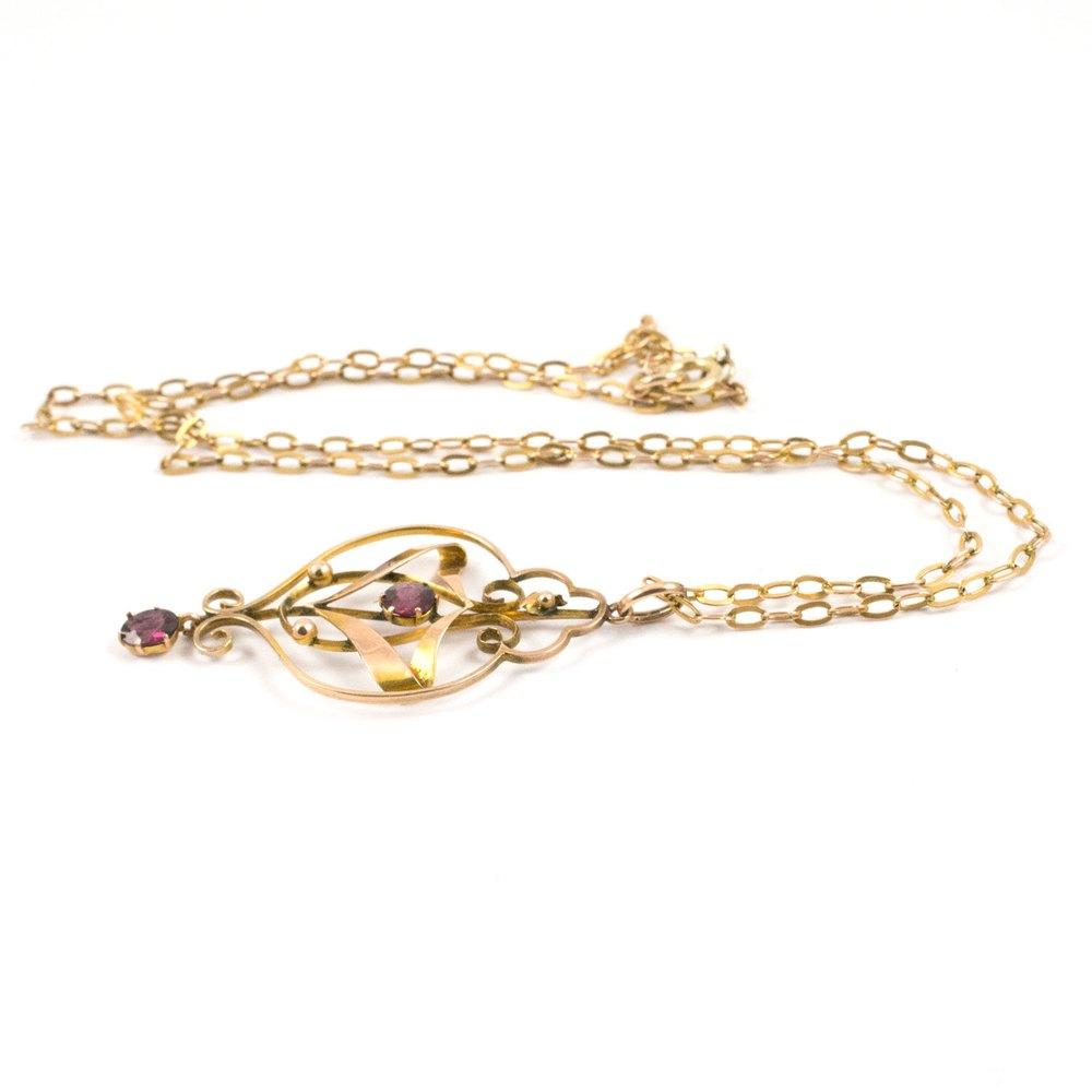 antiques atlas nouveau garnet pendant necklace 9ct