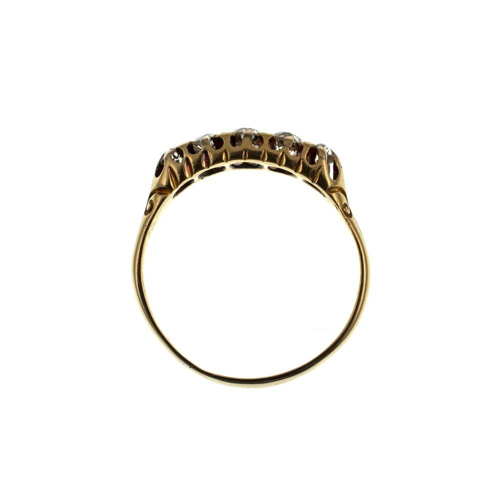 antiques atlas five stone diamond ring 18ct gold