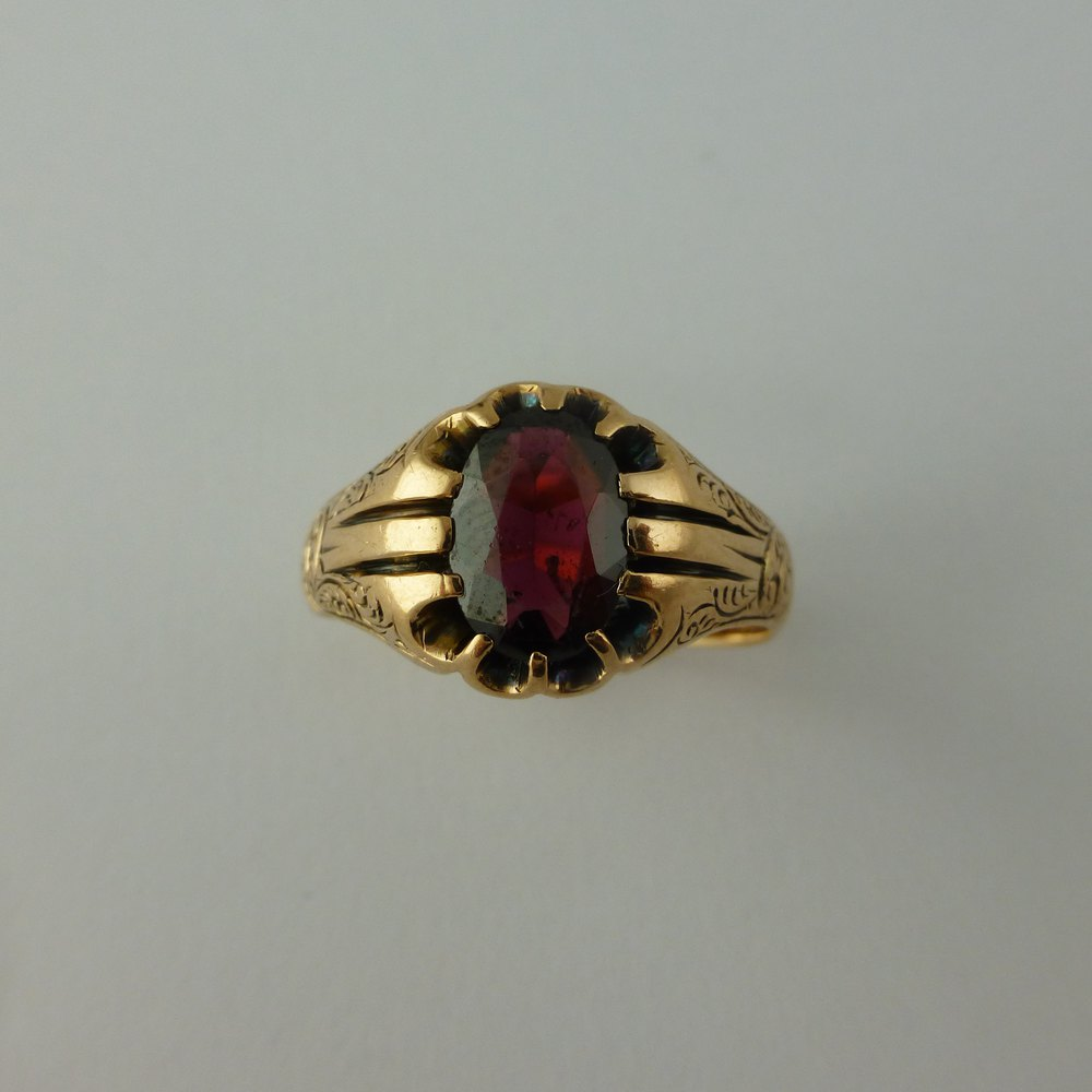 antiques atlas large size antique garnet ring