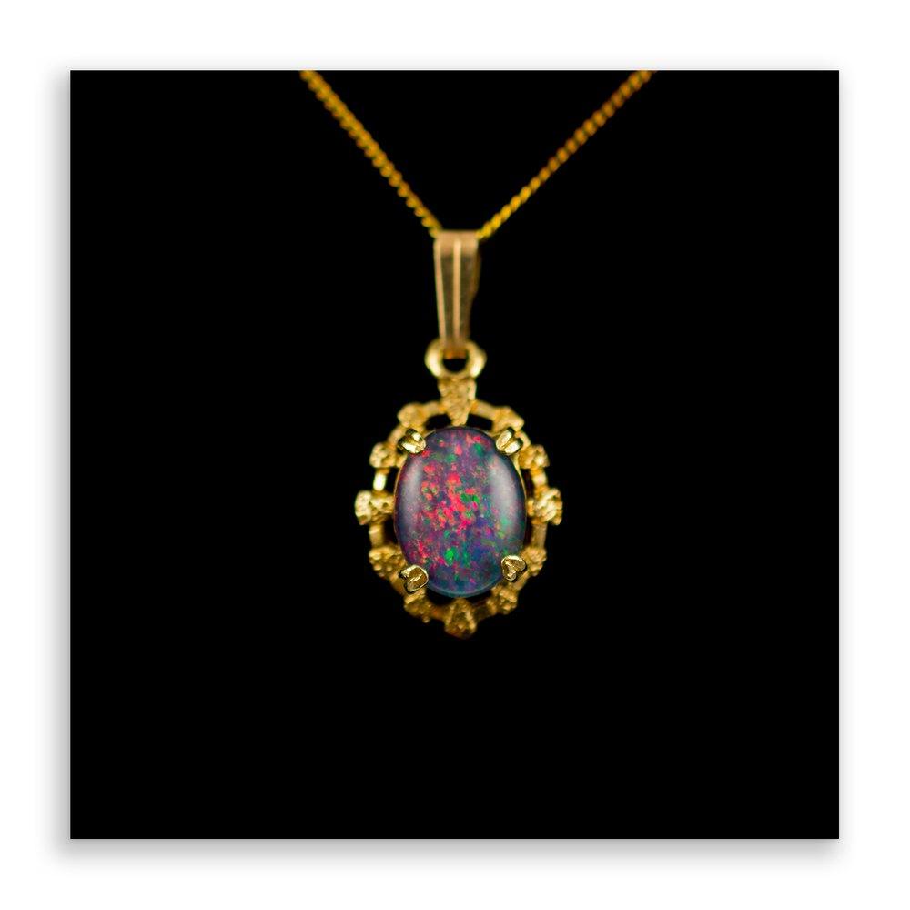 antiques atlas opal pendant necklace 9ct gold