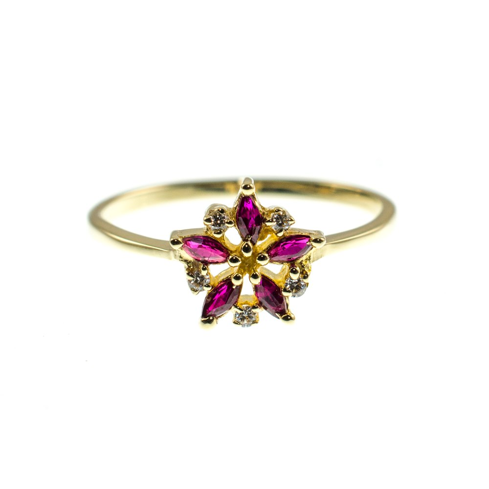 Ruby & Diamond Flower Ring 14K Gold