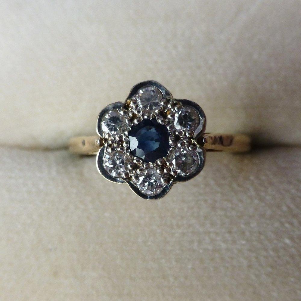Flower Cluster Diamond Engagement Rings