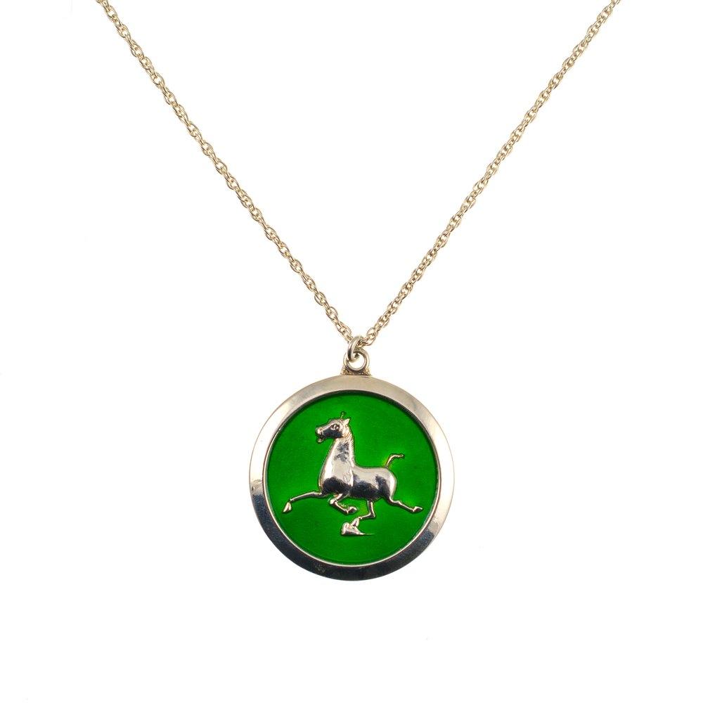 antiques atlas silver green vitreous enamel pendant
