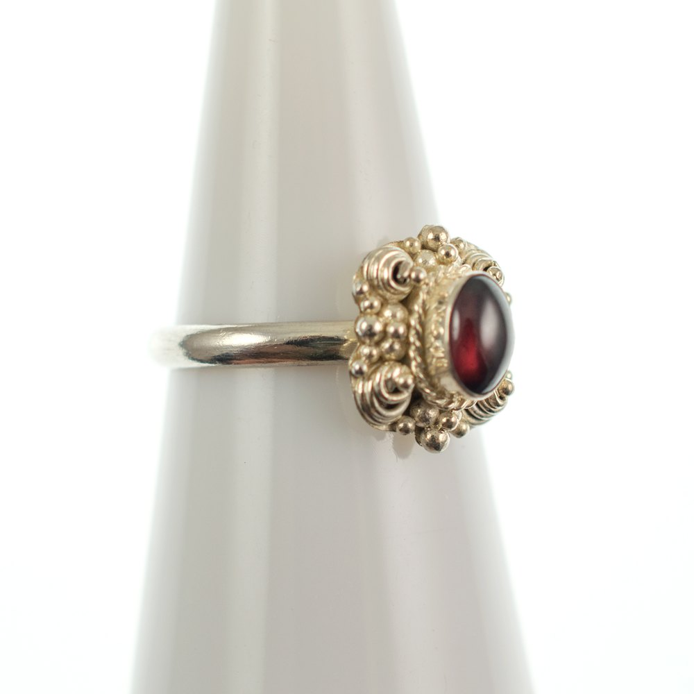 antiques atlas sterling silver filigree ring with garnet