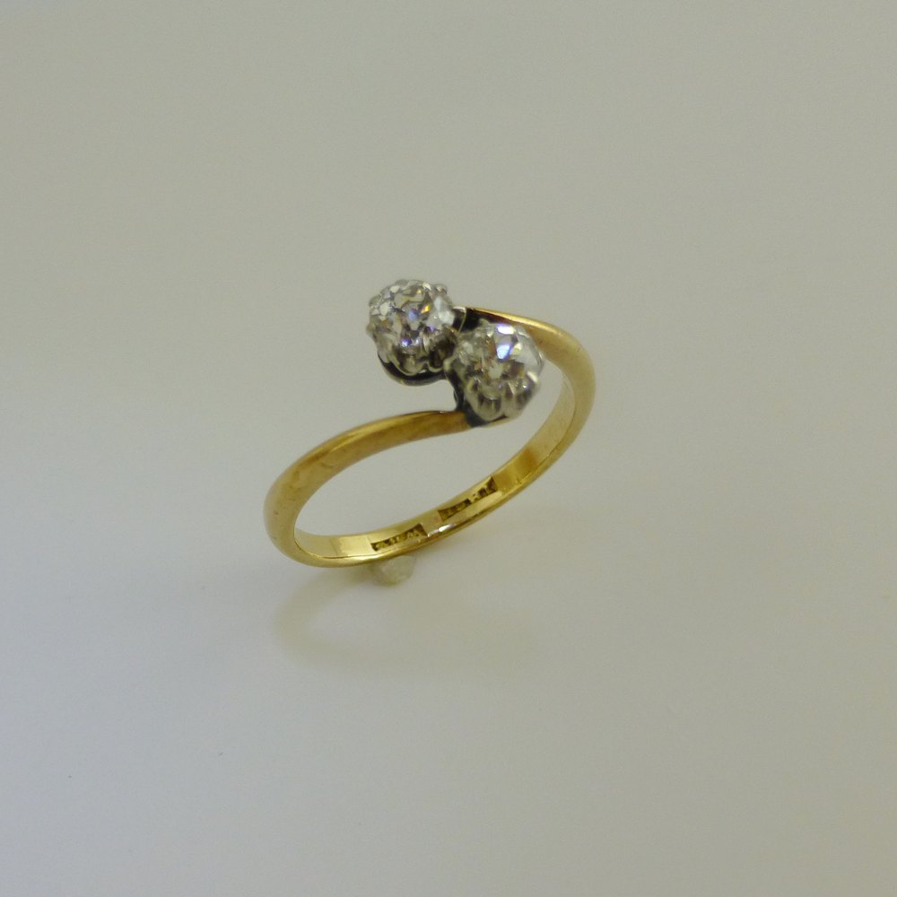 Two Stone Twist Diamond Ring