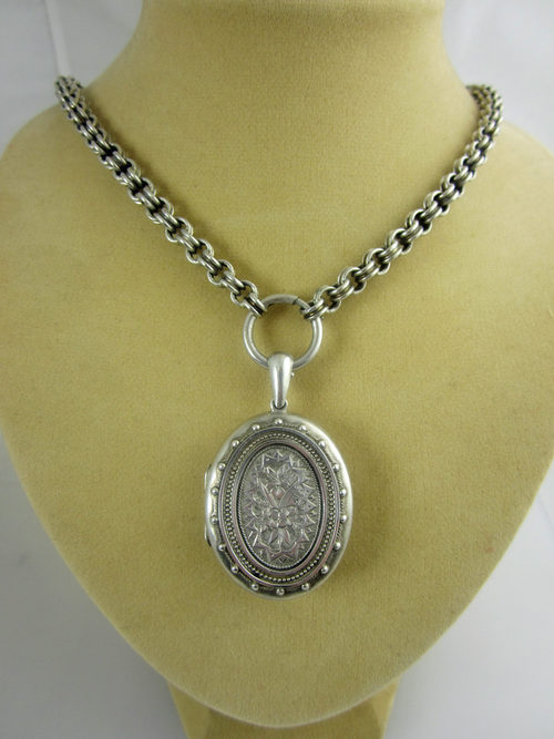 Antiques Atlas - Victorian Silver Locket & Chain