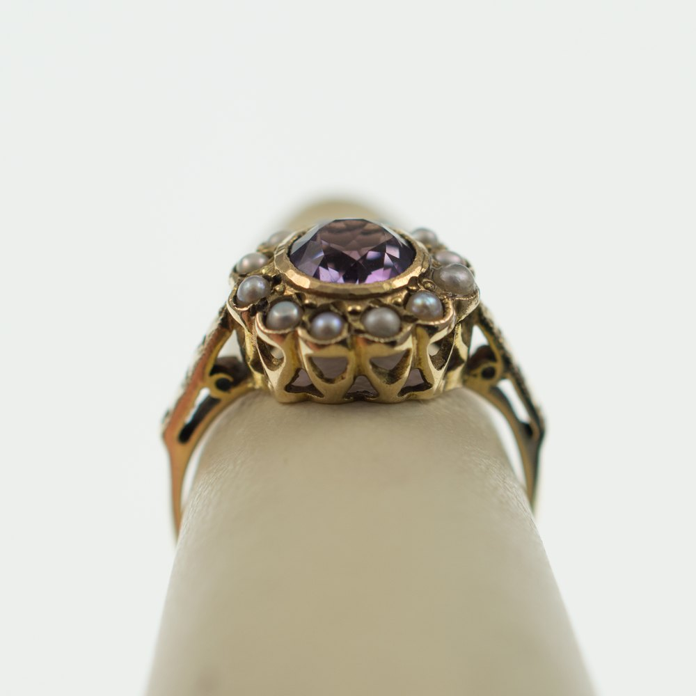 antiques atlas reservedamethyst pearl flower ring 9ct gold
