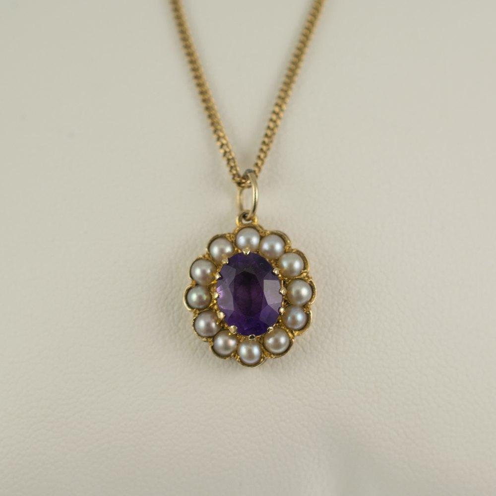 Antiques Atlas Vintage Amethyst Amp Pearl Pendant Necklace
