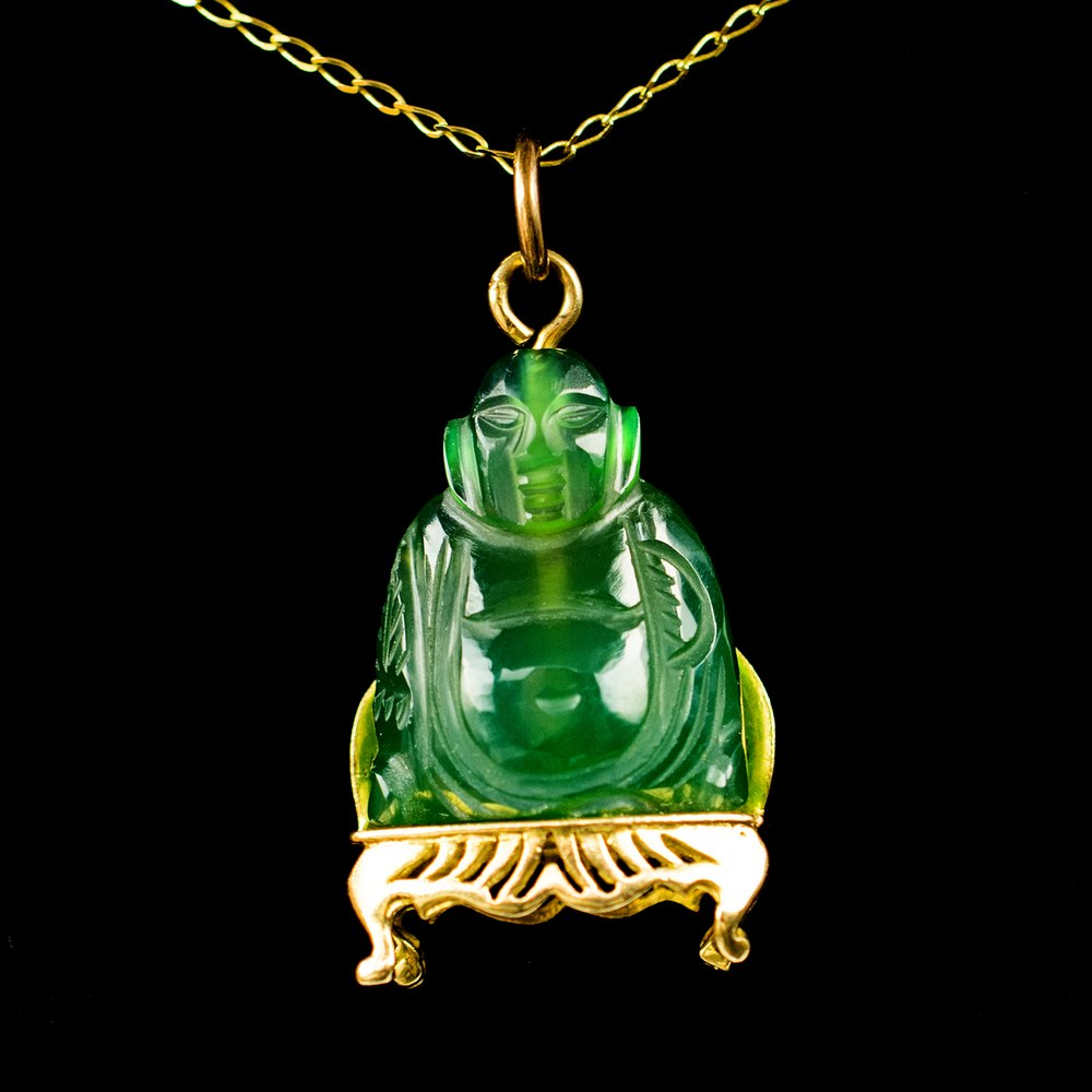 Antiques Atlas Vintage Jade Buddha Pendant 9ct Gold