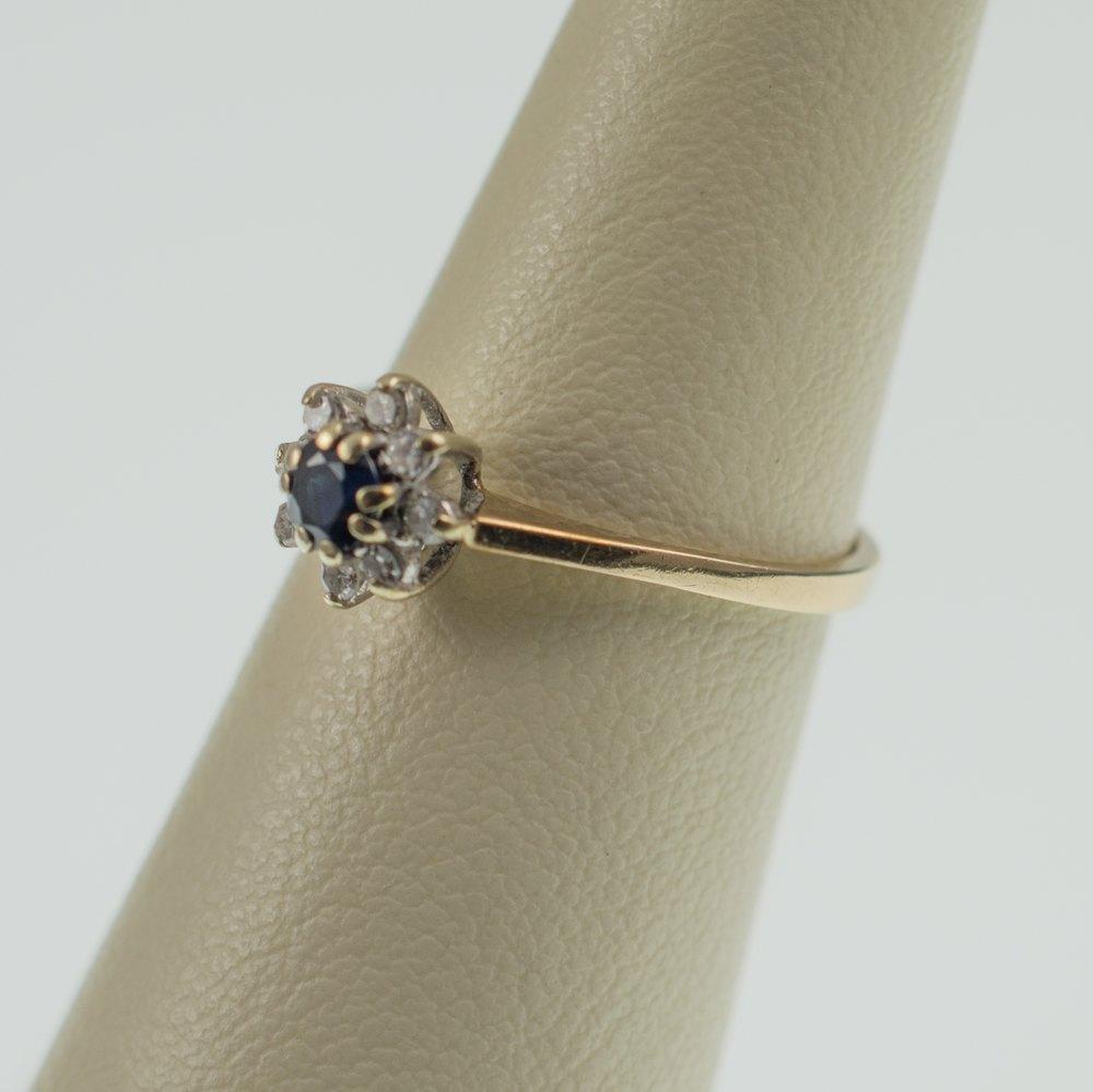 Antiques Atlas Vintage Sapphire Amp Diamond Flower Ring