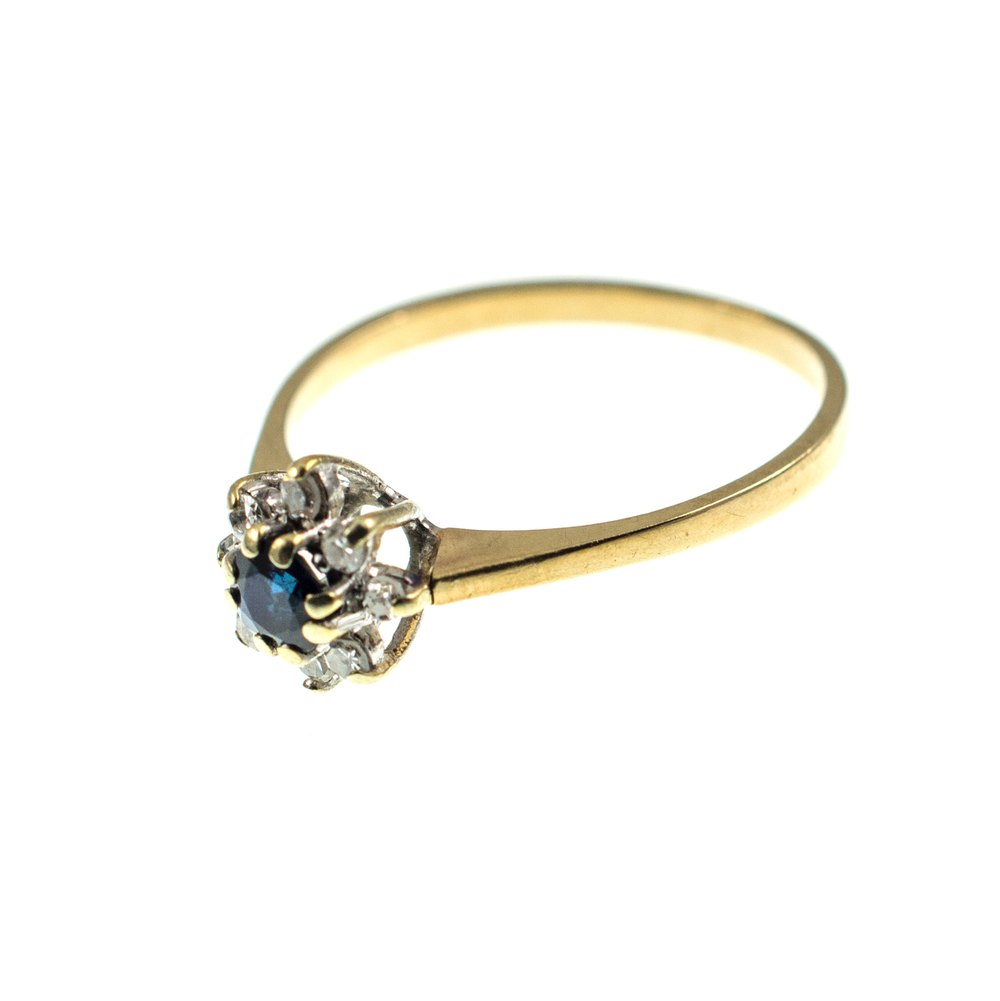 Antiques Atlas Vintage Sapphire Amp Diamond Flower Ring