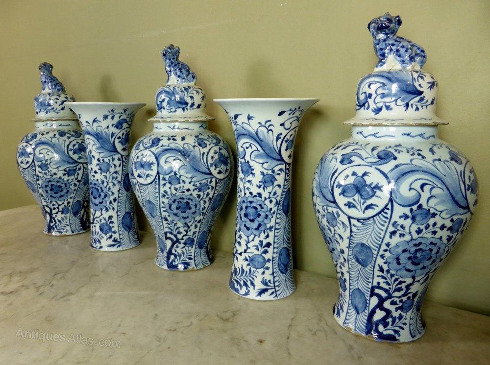 Antiques Atlas 18th C Delft Vase Garniture Set