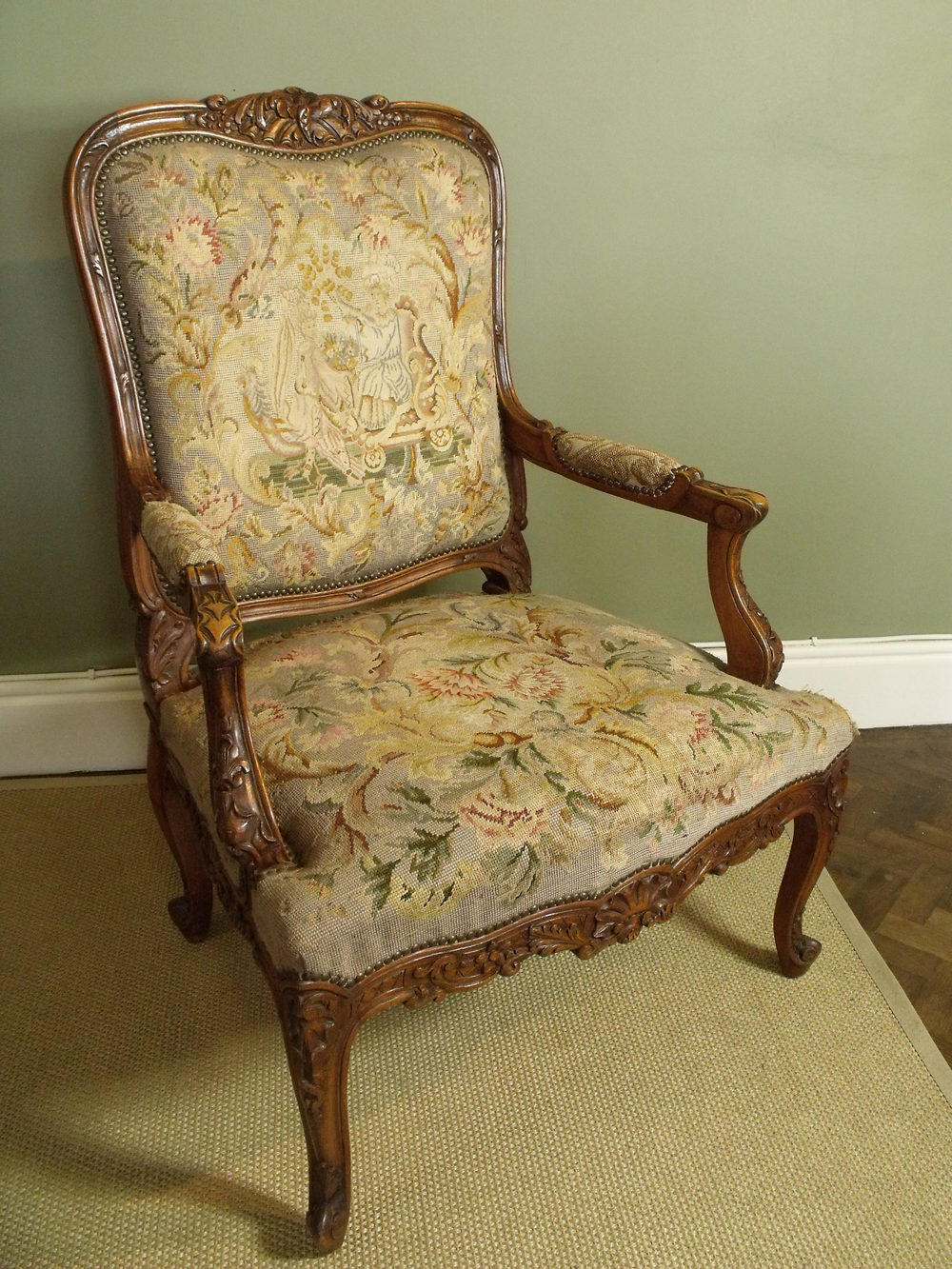 Large carved needlework armchair antiques atlas