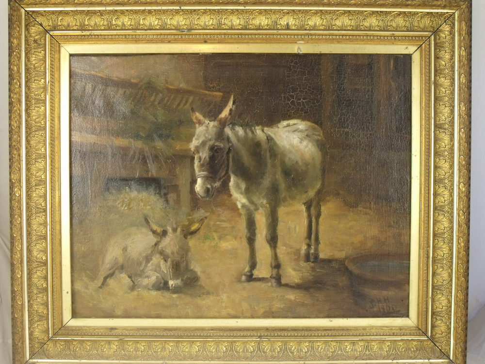 Antiques Atlas Oil Painting Of Donkey And Foal