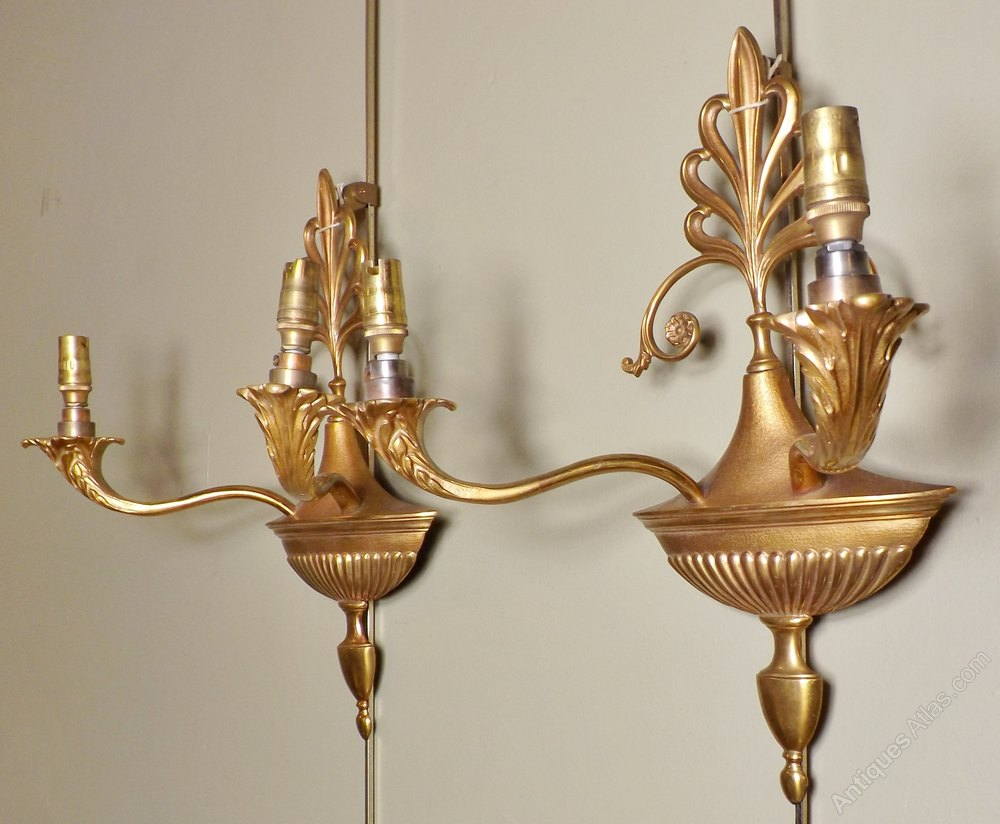 Antiques Atlas - Pair Of Two-branch Wall Sconces