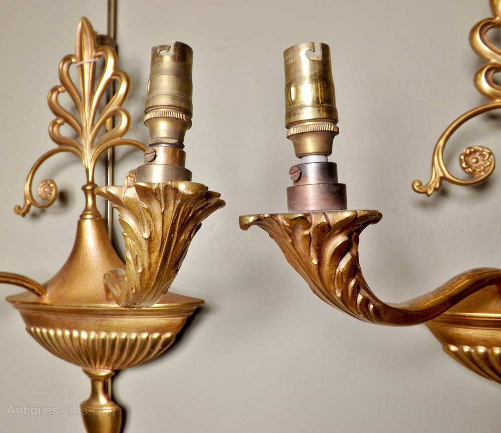 Wall Sconces With Branches : Antiques Atlas - Pair Of Two-branch Wall Sconces
