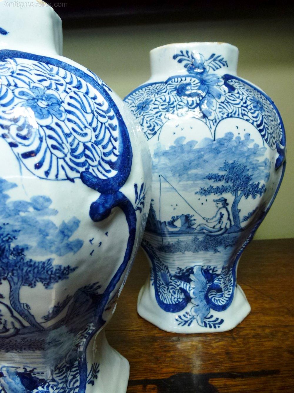 Antiques Atlas - Set Of 18th C Delft Vases