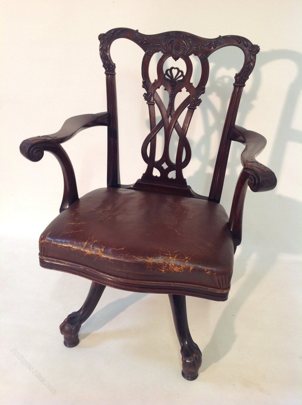 Superb leather desk chair antiques atlas for Antique leather chairs