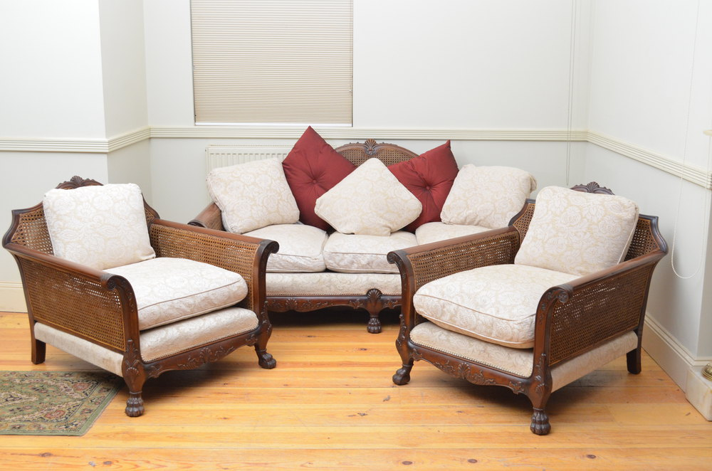 Fine 3 piece bergere suite sofa 2 armchairs antiques for Furniture 3 piece suites
