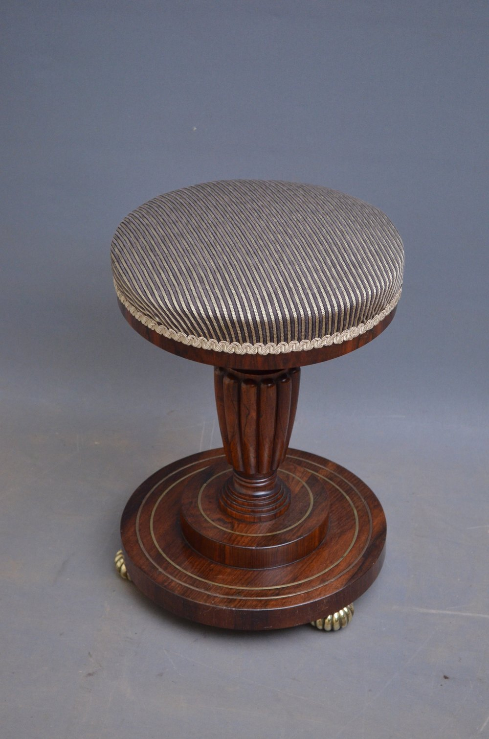 Fine And Unusual Regency Piano Stool In Rosewood
