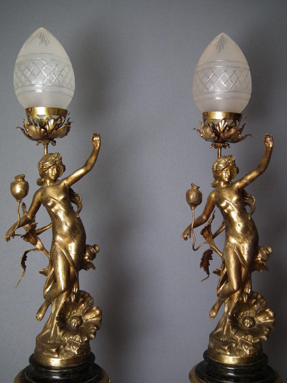 Antiques Atlas Pair Of Art Nouveau Figurine Lamps