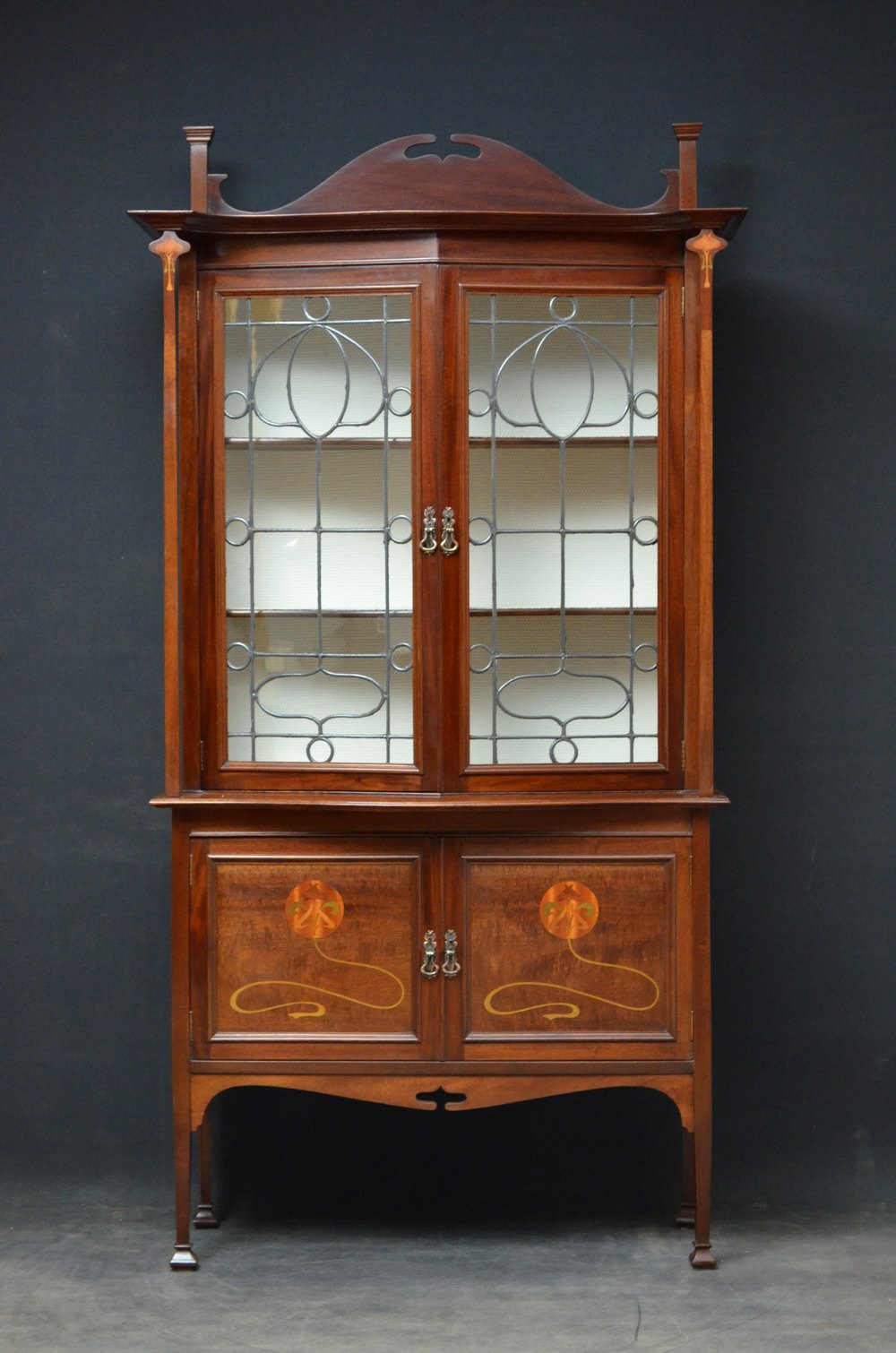 Stunning art nouveau display cabinet vitrine antiques for Sideboard vitrine
