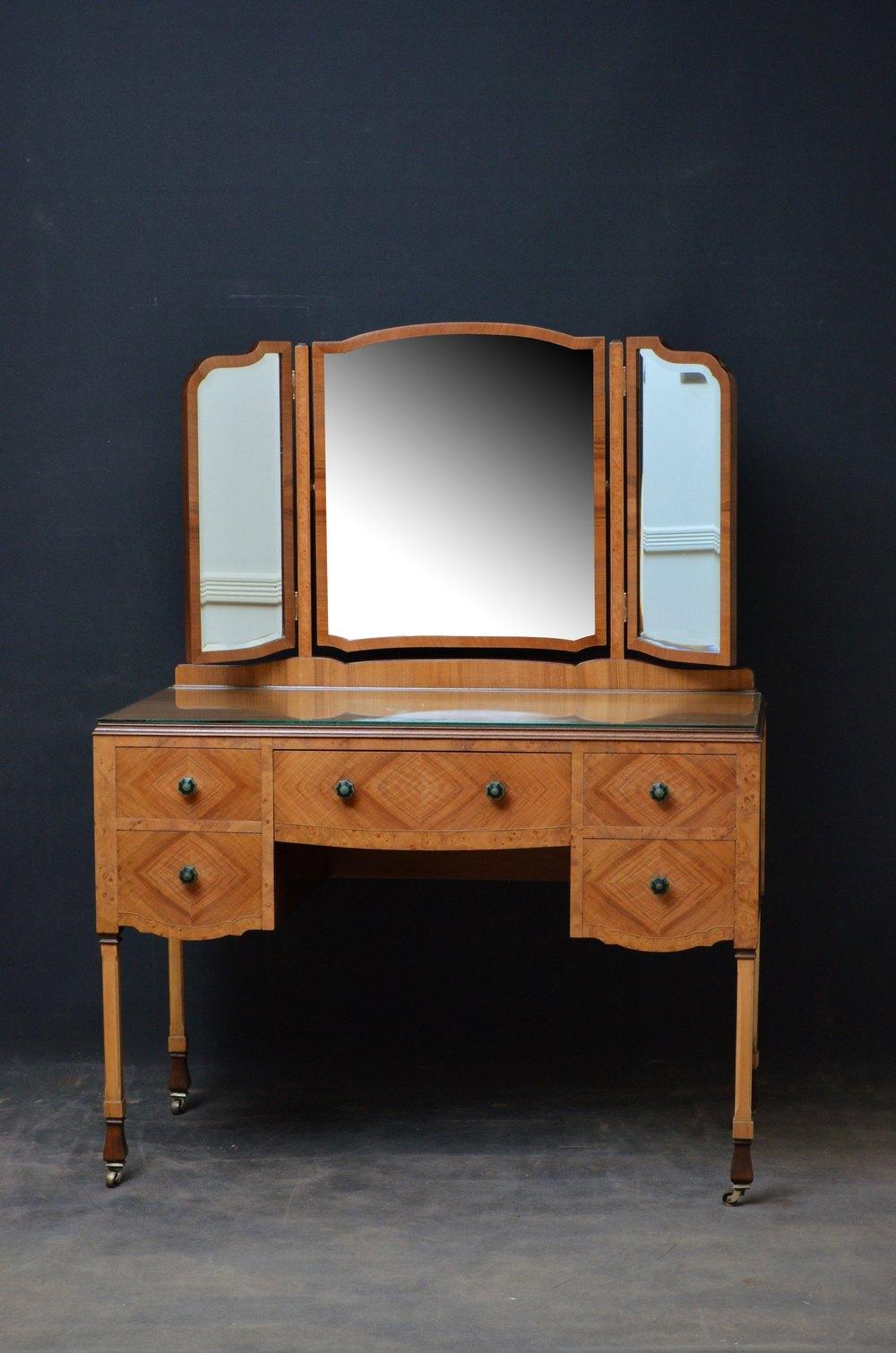 Stylish art deco walnut dressing table chair antiques for Walnut dressing table