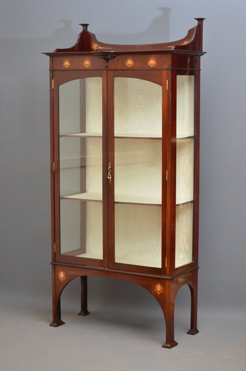 Stylish Art Nouveau Display Cabinet In Mahogany - Antiques Atlas