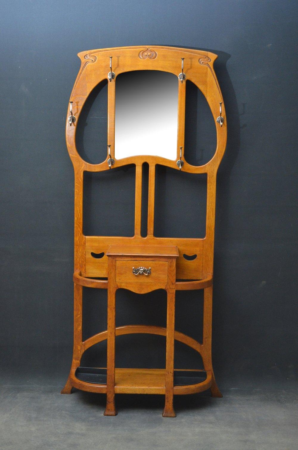 Stylish Art Nouveau Solid Oak Hall Stand Antiques Atlas