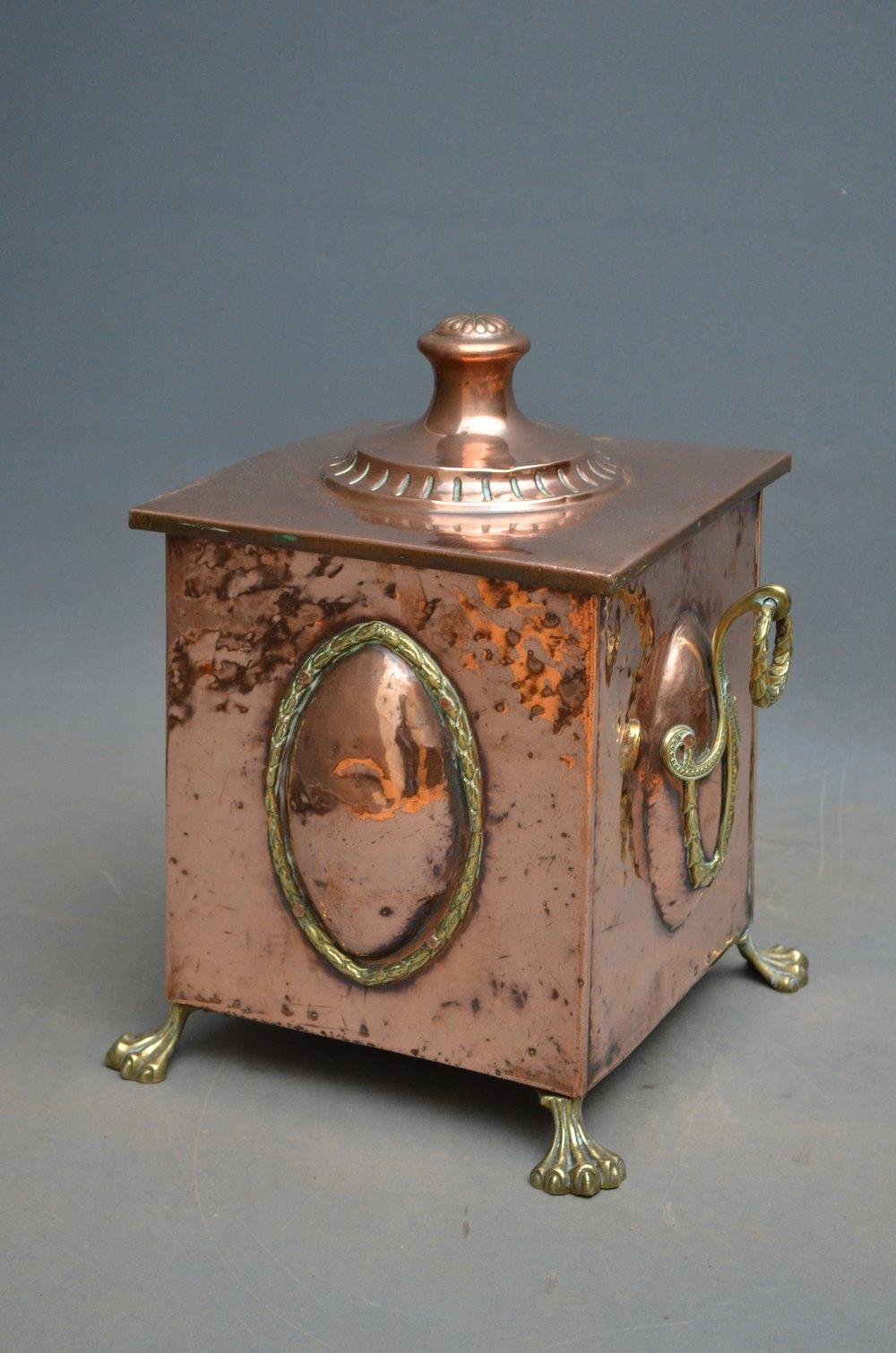 Antiques Atlas Stylish Edwardian Copper Coal Bin