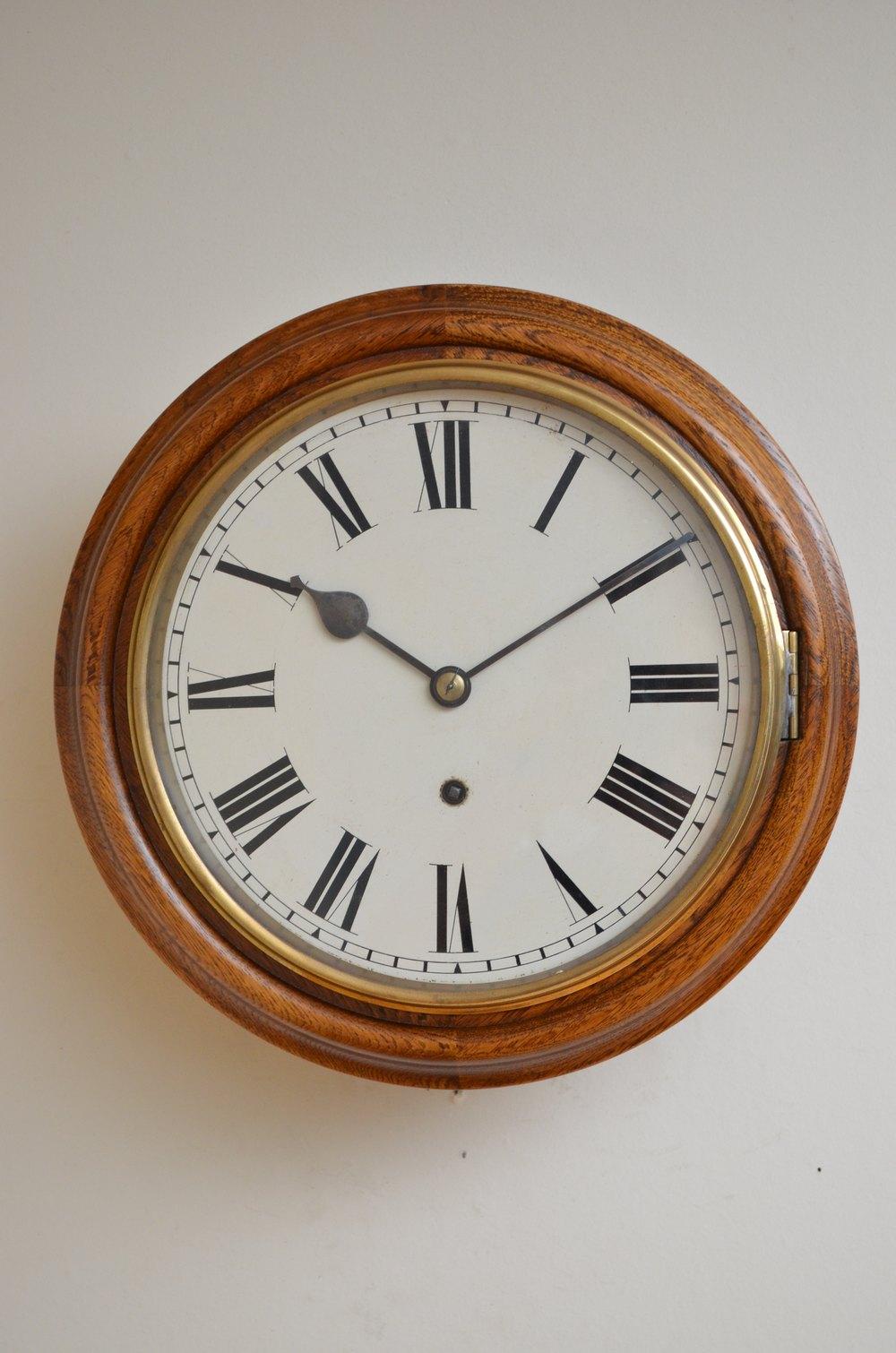 antiques atlas unusually small oak wall clock. Black Bedroom Furniture Sets. Home Design Ideas