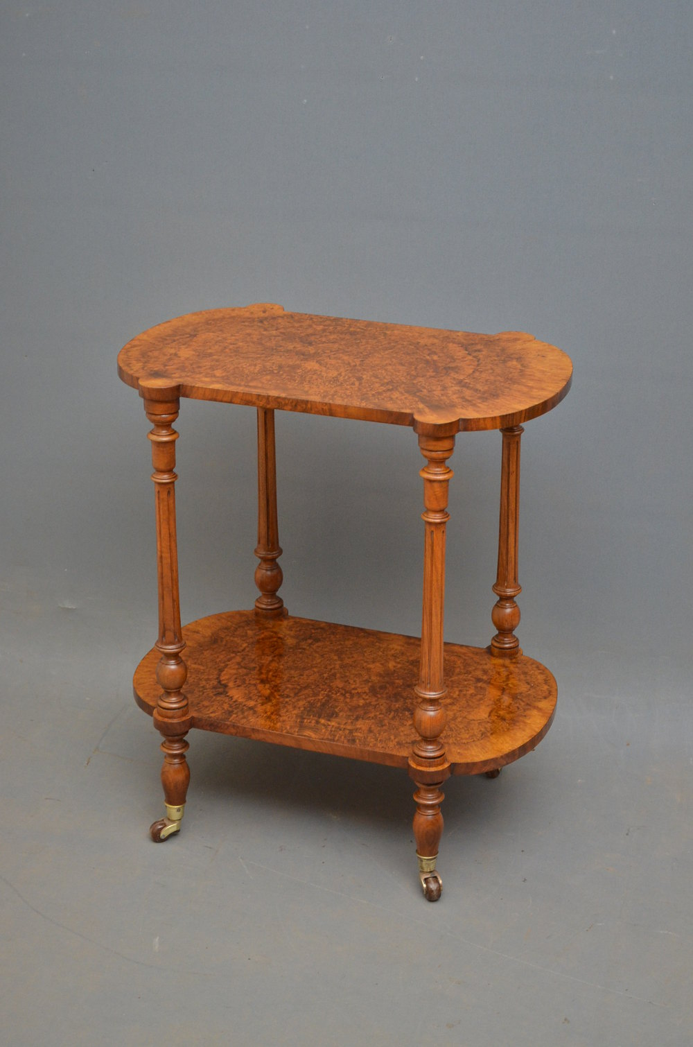 Attractive Victorian Burr Walnut Coffee Table 2 Tier Stand Having 2