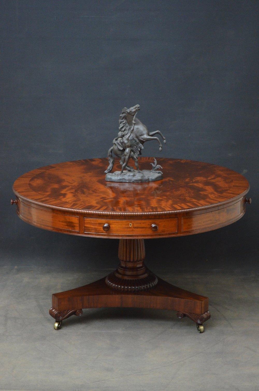 Simple William IV Revolving Drum Table in Mahogany