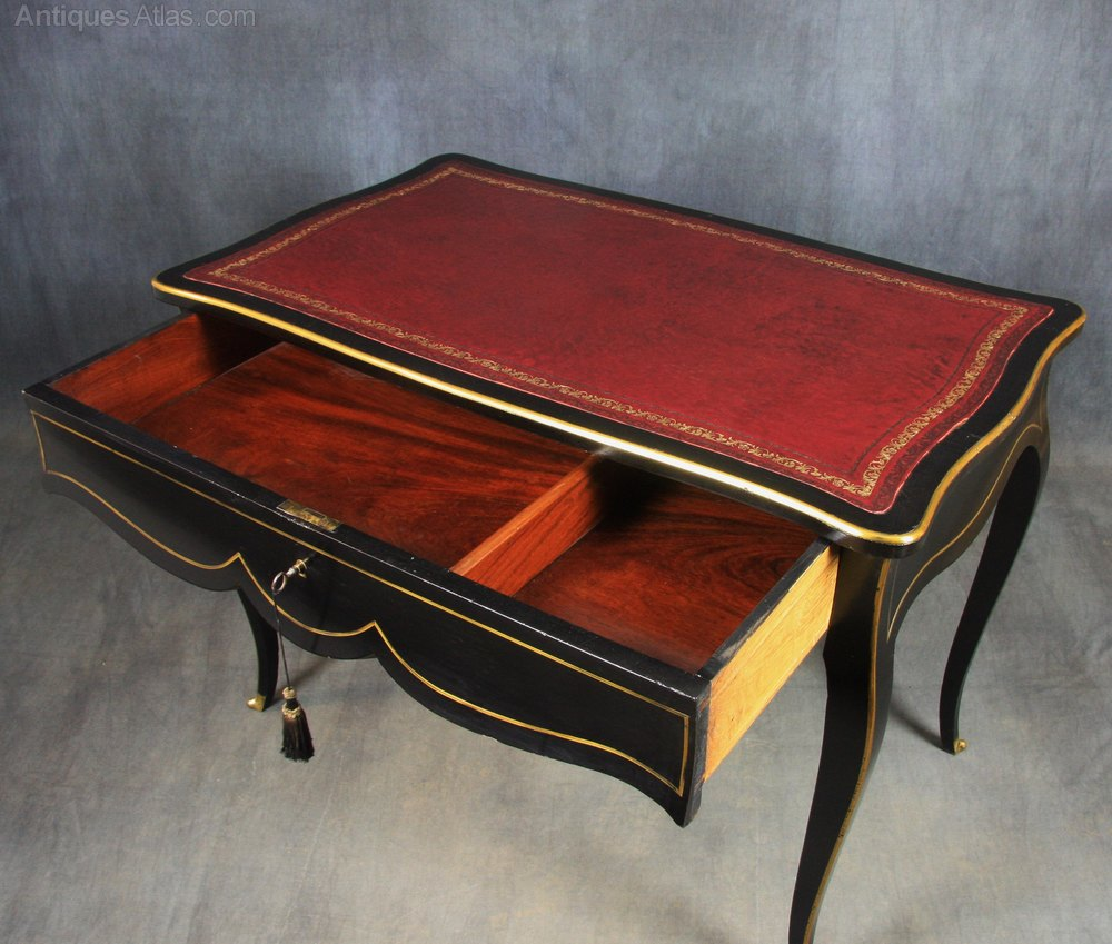 Ebonised french empire bureau plat writing table for Bureau table