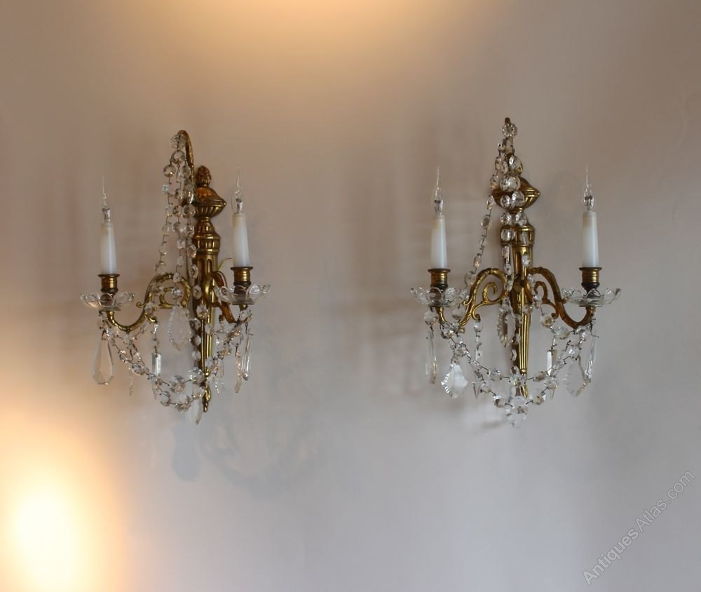 Vintage Crystal Wall Sconces : Antiques Atlas - 2 Pairs Of Antique Brass And Crystal Wall Sconces