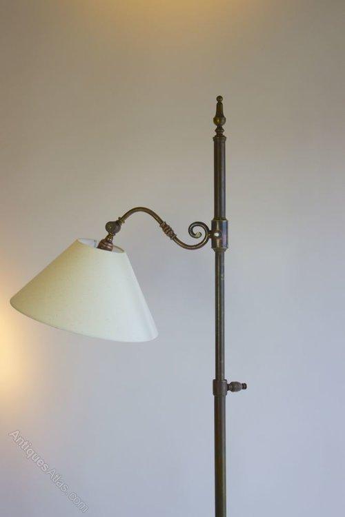 Antiques atlas dark brass adjustable height floor lamp for Antique brass adjustable height floor lamp