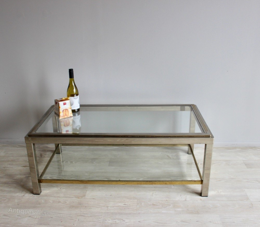 Antique Nickel Coffee Table: Nickel And Brass Two Tier Coffee Table