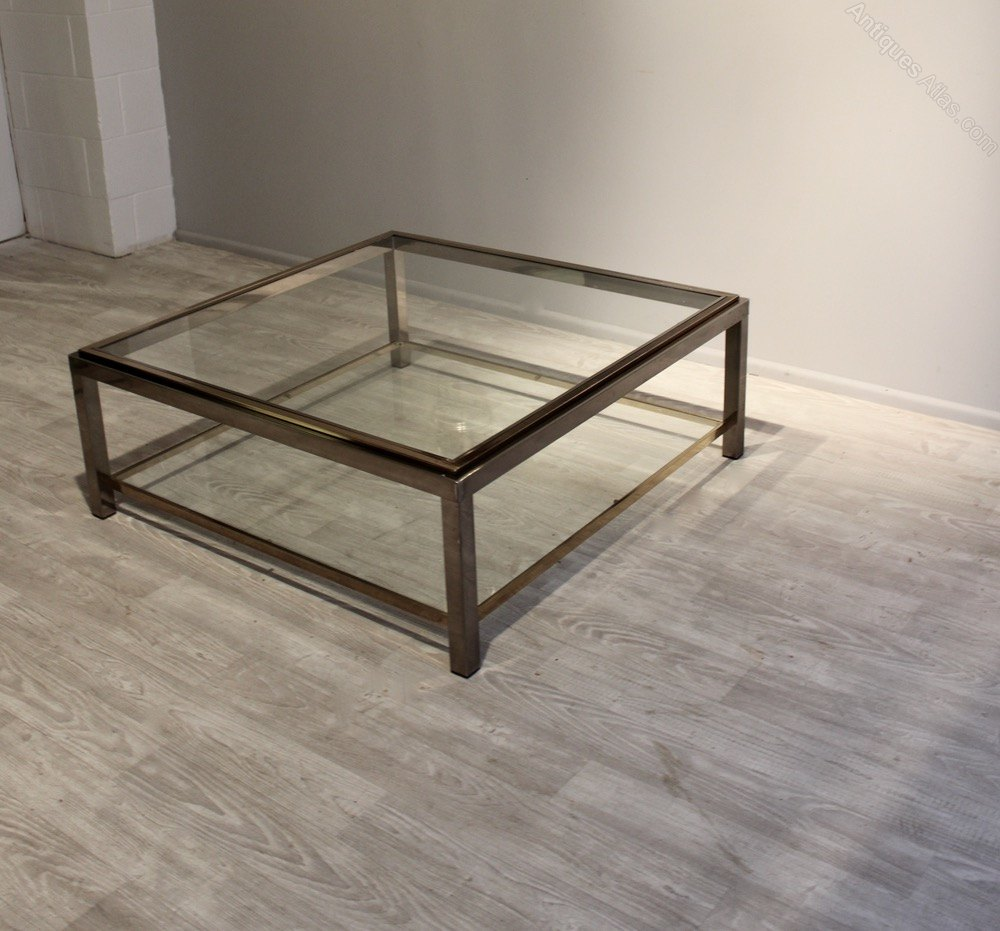 Nickel And Brass Two Tier Coffee Table