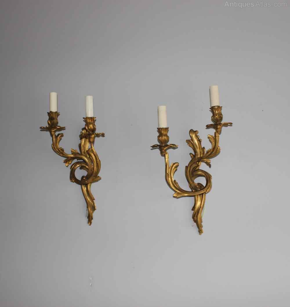 Decorative Antique Wall Sconces : Antiques Atlas - Pair Of French Gilded Brass Naturalistic Sconces