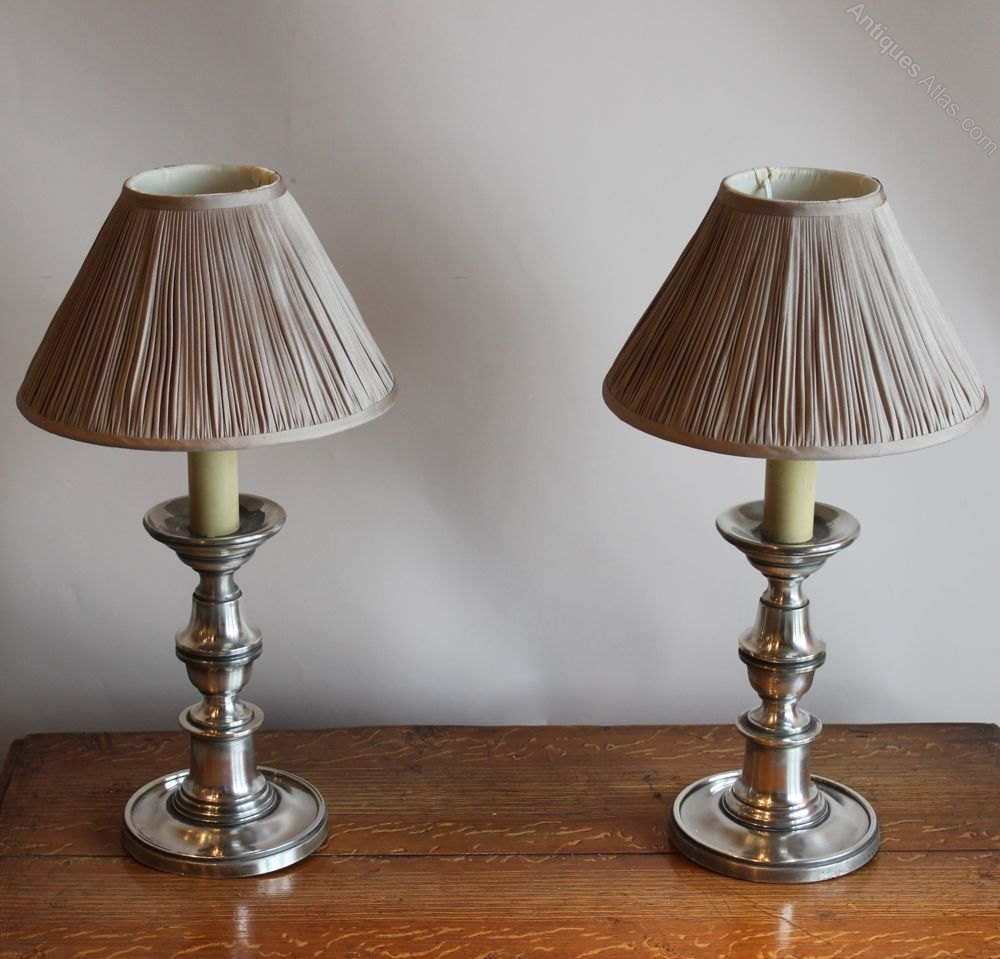 Antiques Atlas Pair Of Silver Plated Lamps With Pleated