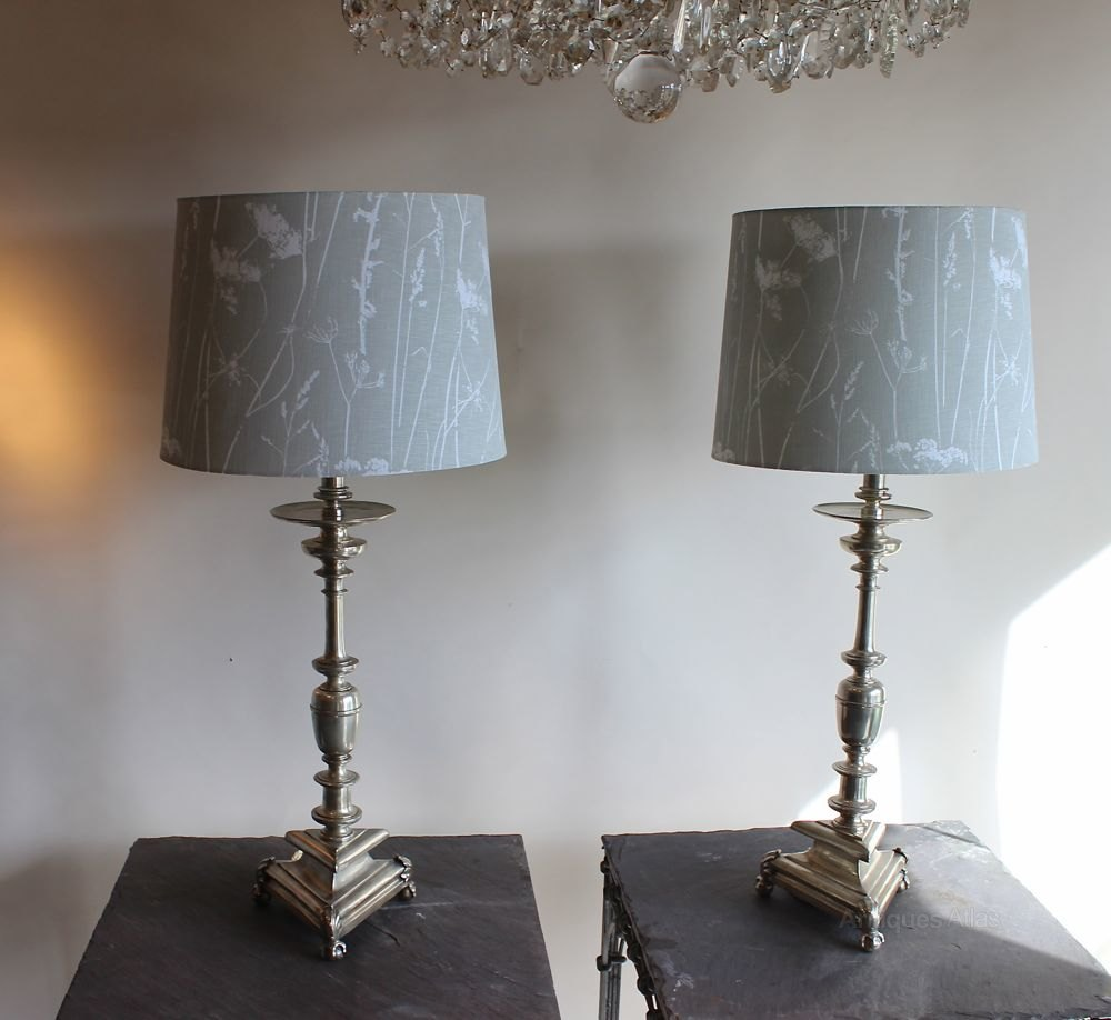 Antiques Atlas Tall Pair Of Silver Table Lamps
